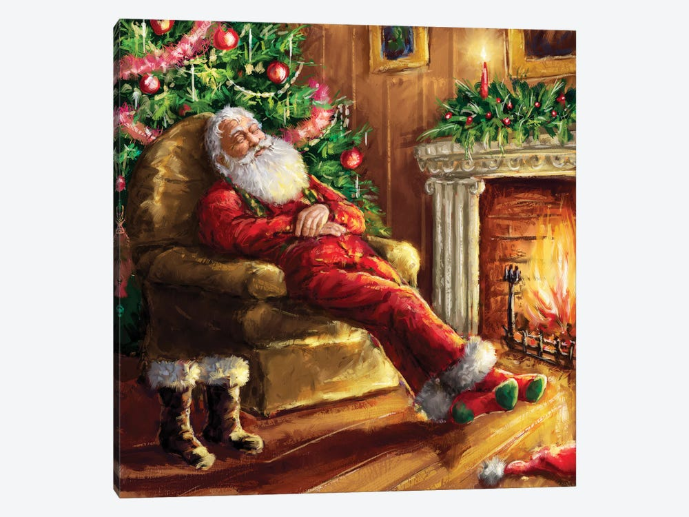Santa asleep in Chair by Marcello Corti 1-piece Canvas Artwork