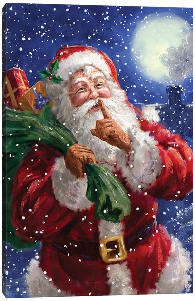 Santa on Blue with moon Canvas Art Print