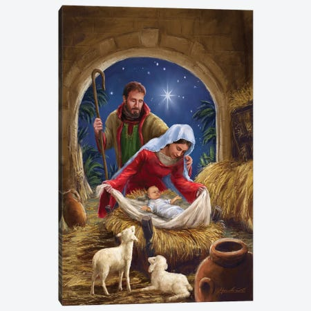 Holy Family With sheep Canvas Print #MLL2} by Marcello Corti Canvas Wall Art