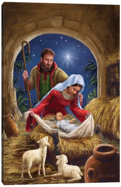 Holy Family With sheep Canvas Art Print