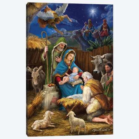 Mary And The Shepards Canvas Print #MLL3} by Marcello Corti Canvas Art
