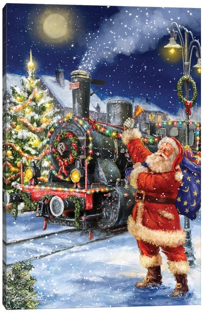 Santa And Black Train Canvas Art Print