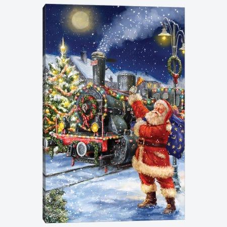 Santa And Black Train Canvas Print #MLL5} by Marcello Corti Canvas Print