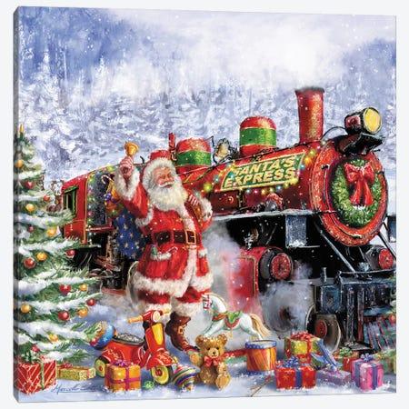 Santa And Red Train Canvas Print #MLL6} by Marcello Corti Canvas Print