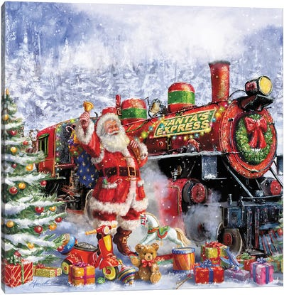 Santa And Red Train Canvas Art Print