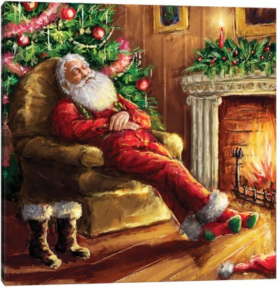 Santa Asleep In Chair Canvas Art Print