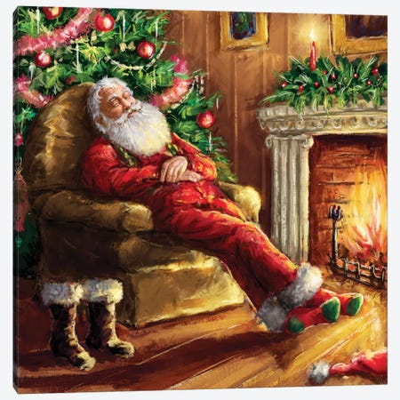 Santa Asleep In Chair Canvas Print #MLL7} by Marcello Corti Art Print