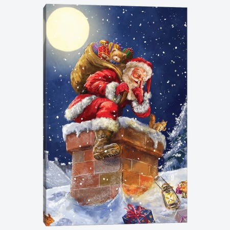 Santa At Chimney With Moon Canvas Print #MLL8} by Marcello Corti Canvas Art