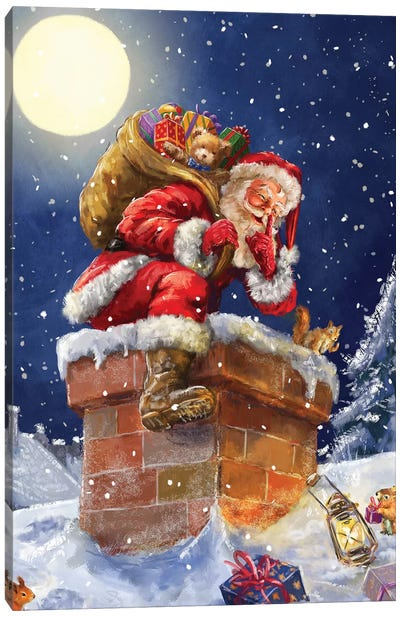 Santa At Chimney With Moon Canvas Art Print
