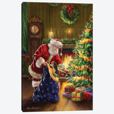 Santa At Tree Blue Sack Canvas Print #MLL9} by Marcello Corti Canvas Wall Art