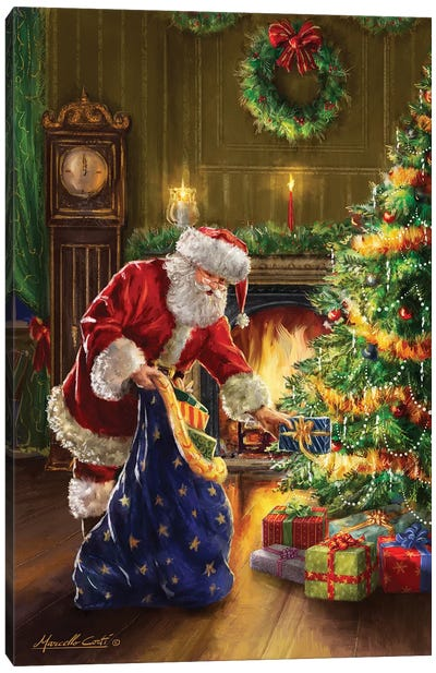 Santa At Tree Blue Sack Canvas Art Print