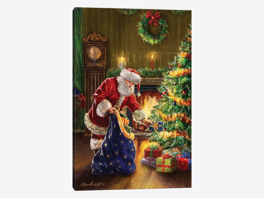 Santa At Tree Blue Sack by Marcello Corti 1-piece Canvas Art Print