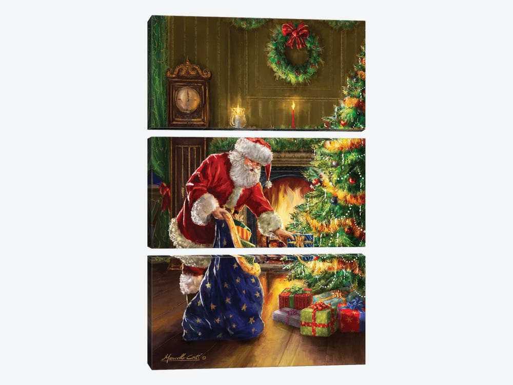 Santa At Tree Blue Sack by Marcello Corti 3-piece Canvas Art Print