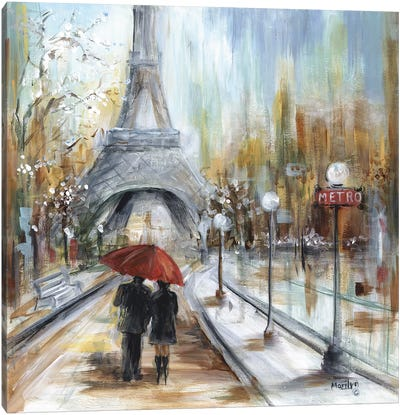 Romantic Paris Canvas Art Print