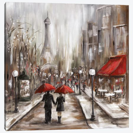 Rainy Afternoon Café Canvas Print #MLN20} by Marilyn Dunlap Canvas Wall Art