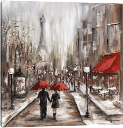 Rainy Afternoon Café Canvas Art Print
