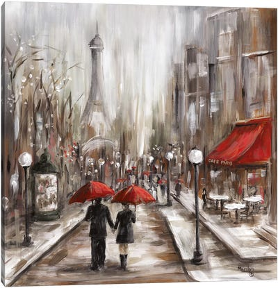 Rainy Afternoon Café Canvas Art Print