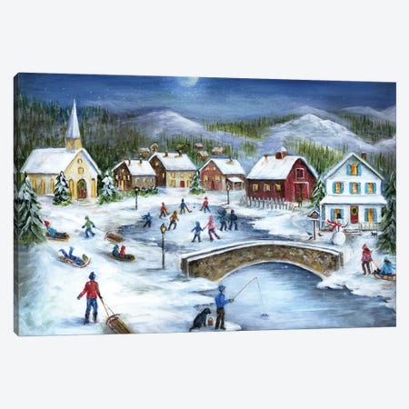 Moonlit Skaters Canvas Print #MLN24} by Marilyn Dunlap Canvas Print