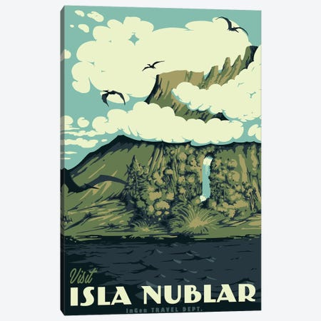 Visit Isla Nublar Canvas Print #MLO124} by Mathiole Canvas Artwork