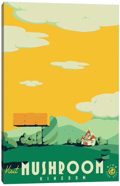 Visit Mushroom Kingdom Canvas Art Print