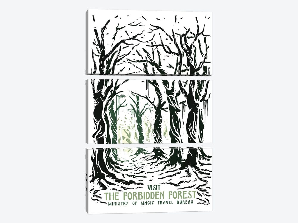 Visit The Forbidden Forest by Mathiole 3-piece Canvas Print