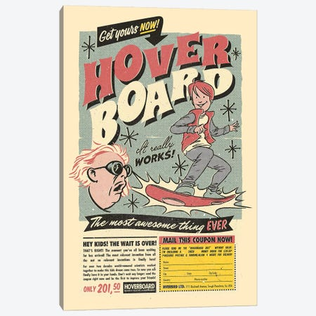 Hoverboard Canvas Print #MLO70} by Mathiole Canvas Artwork