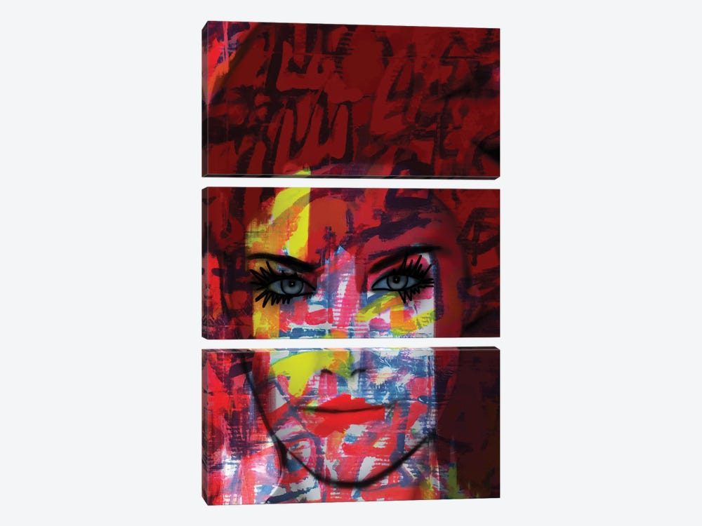 Cardboard Fashion Lady by Daniel Malta 3-piece Canvas Print