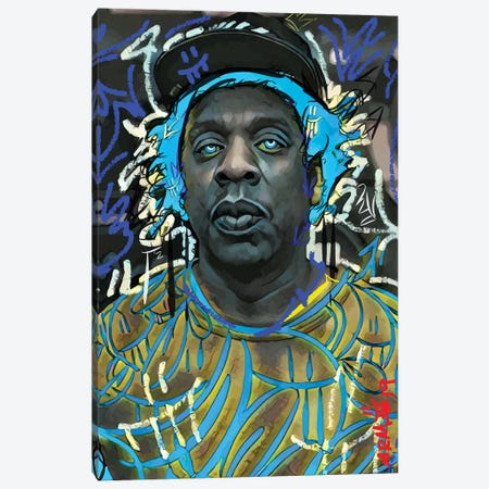 Jayz Blue Canvas Print #MLW15} by Arm Of Casso Canvas Art Print