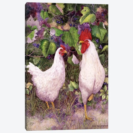 Roosters en Place IV Canvas Print #MMA28} by Marcia Matcham Canvas Art
