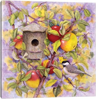 Chickadee & Apples Canvas Print #MMA3