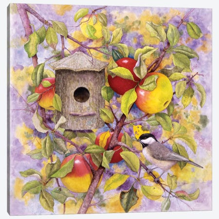 Chickadee & Apples Canvas Print #MMA3} by Marcia Matcham Canvas Wall Art