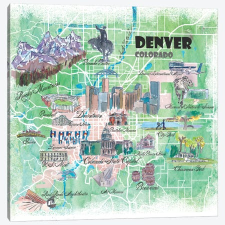 Denver Colorado USA Illustrated Map Canvas Print #MMB100} by Markus & Martina Bleichner Canvas Art