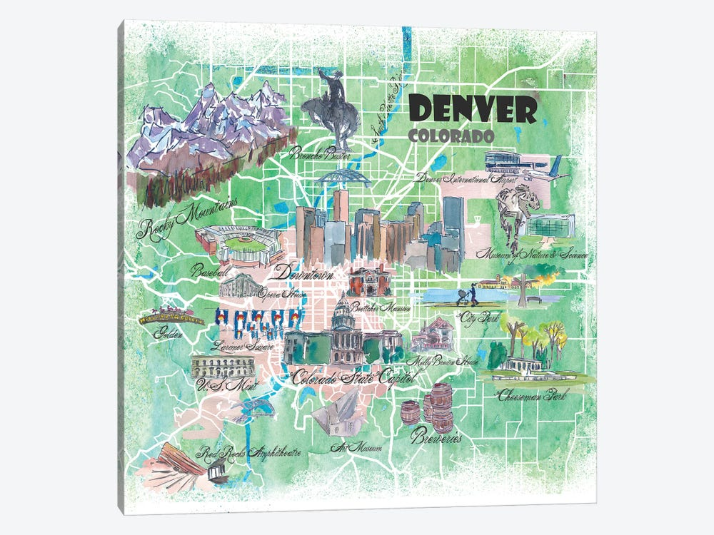 Denver Colorado USA Illustrated Map by Markus & Martina Bleichner 1-piece Canvas Art