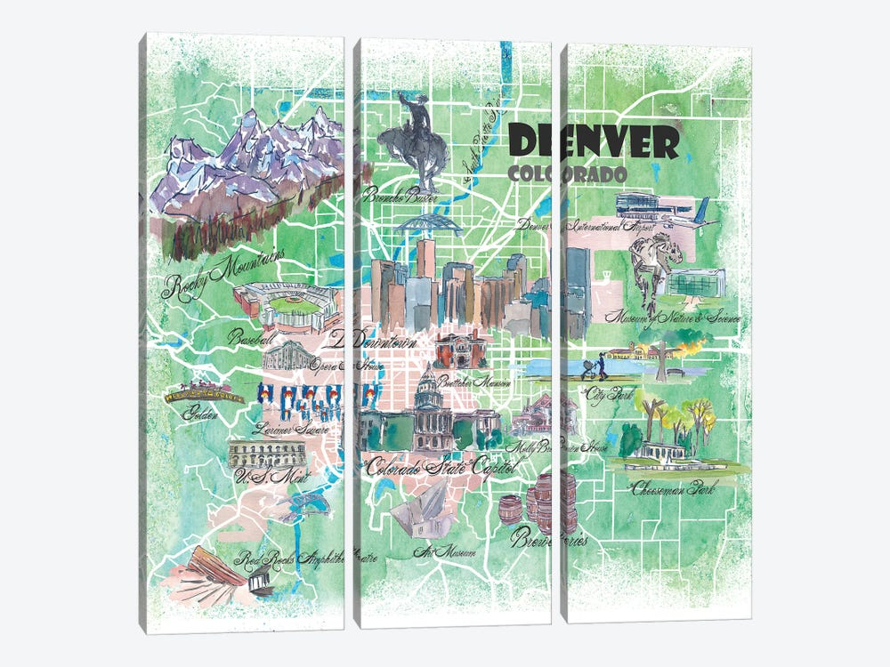 Denver Colorado USA Illustrated Map by Markus & Martina Bleichner 3-piece Canvas Artwork