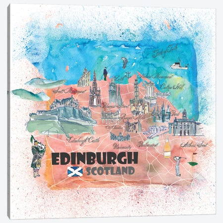 Edinburgh Scotland Illustrated Map Canvas Print #MMB101} by Markus & Martina Bleichner Canvas Artwork