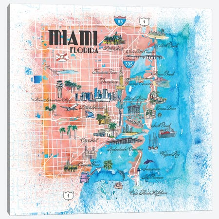 Miami Florida Illustrated Map Canvas Print #MMB102} by Markus & Martina Bleichner Canvas Art