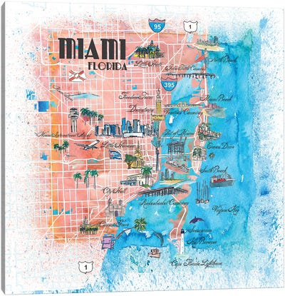 Miami Florida Illustrated Map Canvas Art Print