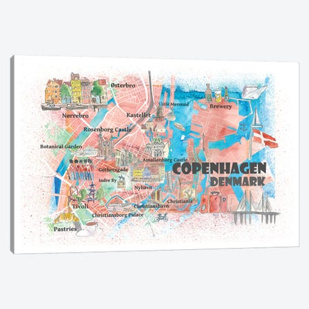 Copenhagen Denmark Illustrated Map With Main Roads Landmarks And Highlights Canvas Print #MMB104} by Markus & Martina Bleichner Art Print