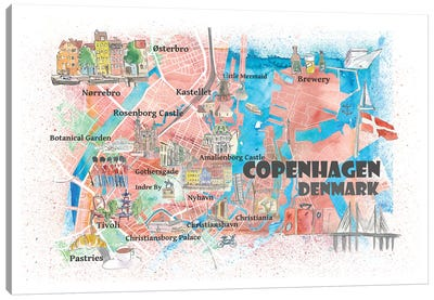 Copenhagen Denmark Illustrated Map With Main Roads Landmarks And Highlights Canvas Art Print