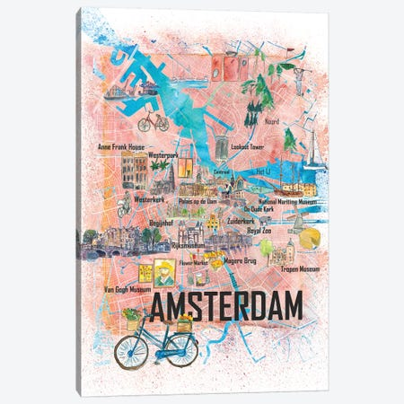 Amsterdam Netherlands Illustrated Map With Main Roads Landmarks And Highlights Canvas Print #MMB105} by Markus & Martina Bleichner Canvas Print