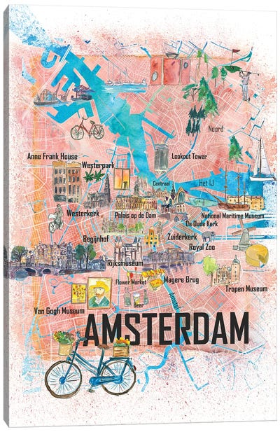 Amsterdam Netherlands Illustrated Map With Main Roads Landmarks And Highlights Canvas Art Print