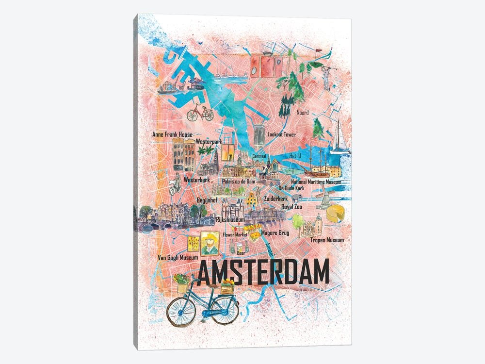 Amsterdam Netherlands Illustrated Map With Main Roads Landmarks And Highlights by Markus & Martina Bleichner 1-piece Canvas Art Print