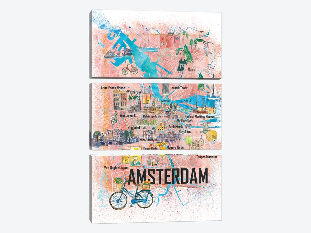 Amsterdam Netherlands Illustrated Map With Main Roads Landmarks And Highlights by Markus & Martina Bleichner 3-piece Canvas Art Print