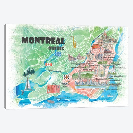 Montreal Quebec Canada Illustrated Map Canvas Print #MMB106} by Markus & Martina Bleichner Art Print