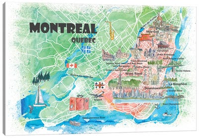 Montreal Quebec Canada Illustrated Map Canvas Art Print