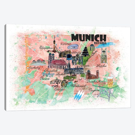 Munich Bavaria Illustrated Map Canvas Print #MMB107} by Markus & Martina Bleichner Art Print
