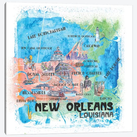 New Orleans Louisiana USA Illustrated Map 3-Piece Canvas #MMB108} by Markus & Martina Bleichner Canvas Wall Art