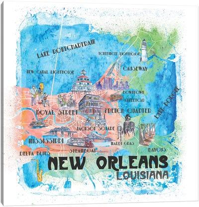 New Orleans Louisiana USA Illustrated Map Canvas Art Print