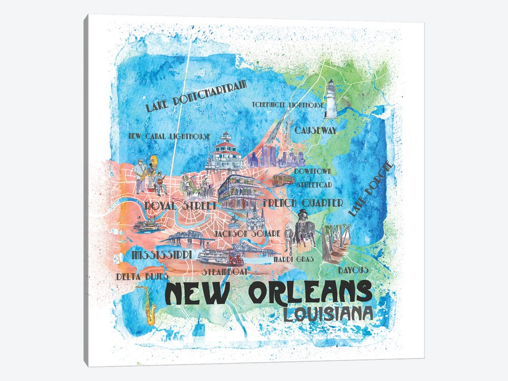 New Orleans Louisiana USA Illustrated Map by Markus & Martina Bleichner 1-piece Canvas Wall Art
