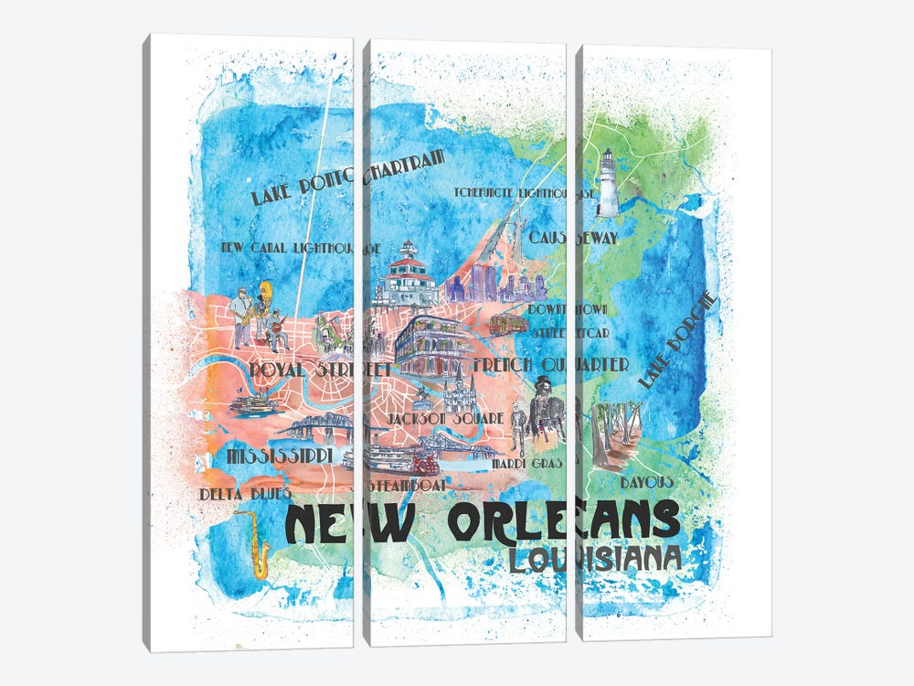 New Orleans Louisiana USA Illustrated Map by Markus & Martina Bleichner 3-piece Canvas Artwork